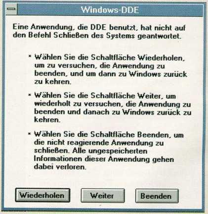 Windows DDE Fehler Meldung